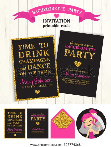graphic relating to Free Printable Bachelorette Party Invitations named Bachelorette Bash Invites Preset Vector Printable Inventory