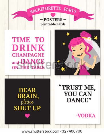 Bachelorette Party Posters Bride Quotes Time Stock Vector Royalty