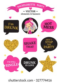 Bachelorette party set with bride, speak bubbles, heart, stars, quotes etc.