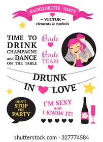 Bachelorette party set with bride, speak bubbles, heart, stars, quotes, banners, champagne etc.