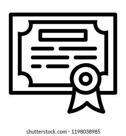 Bachelors certificate degree icon. Outline bachelors certificate degree  vector icon for web design isolated on white background