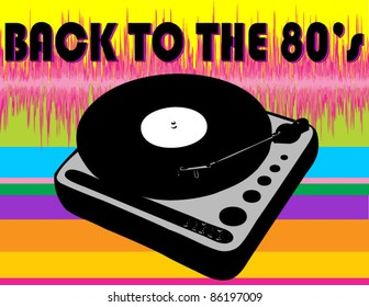 Back to the 80's Record Player with Rainbow and Soundwave Background