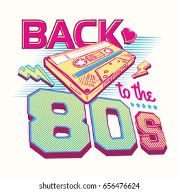 Back to the 80s retro party poster design