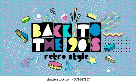 Back to the 90's. Memphis style poster, invitation card and banner with geometric elements. Vector illustration in trendy 80s-90s Memphis style. Easy editable for Your design.