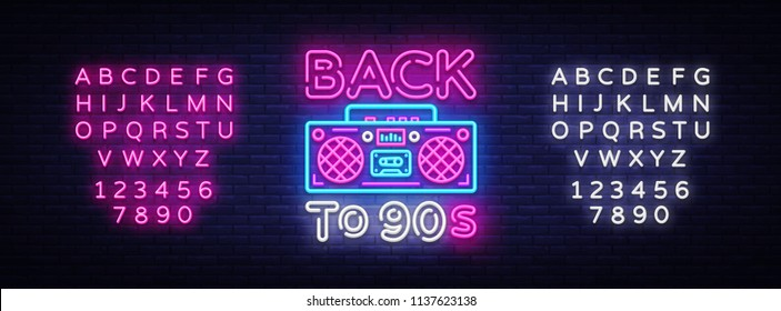 Back to 90s neon poster, card or invitation, design template. Retro tape recorder neon sign, light banner. Back to the 90s. Vector illustration in trendy 80s-90s neon style. Editing text neon sign
