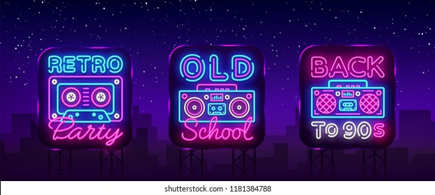 Back to 90s neon poster collection, card or invitation, design template. Retro tape recorder cassettes neon sign, gramophone symbol, light banner. Back to the 90s. Vector illustration. Billboard