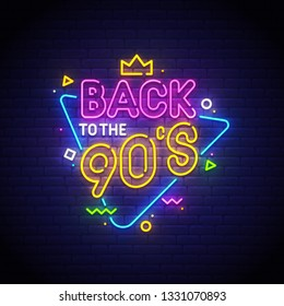 Back to the 90's neon sign, bright signboard, light banner. Vector illustration