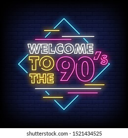 Back to the 90's neon signs style text vector