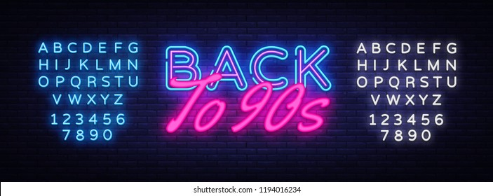 Back to 90s Neon Text Vector. Retro Back to 90s neon sign, design template, modern trend design, night neon signboard, night bright advertising, light banner. Vector. Editing text neon sign