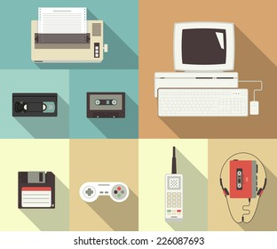 Back to 90s old fashioned vector conceptual flat set of retro printer, old computer pc, vintage video cassette, floppy disk for computer, cellphone and mobile player with headset. Icon of nineties