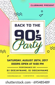 Back to the 90's party invitation. Colorful flyer template. Vector design in trendy geometric style.