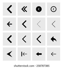 back arrow previous icon set. simple pictogram minimal, flat, solid, mono, monochrome, plain, contemporary style. Vector illustration web internet design elements