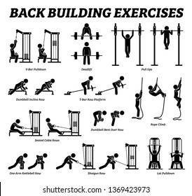 Back building exercises and muscle building stick figure pictograms. Artworks depict a set of weight training reps workout for back muscle by gym machine and tools with step by step instructions.