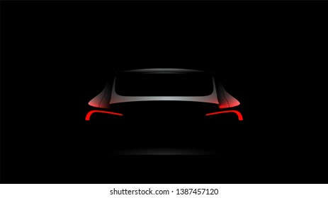Back Car Silhouette Rear Red Lights Stock Vector Royalty Free