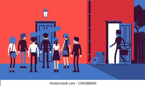 Back door rear entrance, indirect dishonest access. Smart man solving problem by trick and deceit, achieving business goal in cunning way, finds hidden opportunity, fraud cheating. Vector illustration