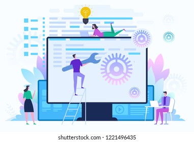 Back end development IT concept. Software development process. People configure the application on the big LCD screen with gears. Vector illustration