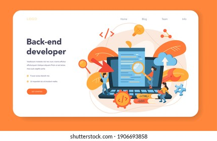 Back end development web banner or landing page. Software development process. Website interface design improvement. Programming and coding. IT profession. Isolated flat vector illustration