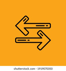 Back And Forth Line Icon Isolated On Orange Background