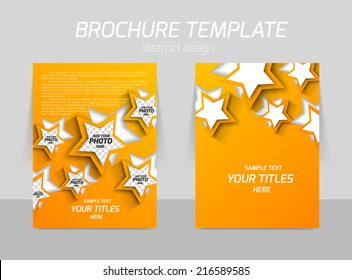 Back and front flyer template design in orange color with cut out star