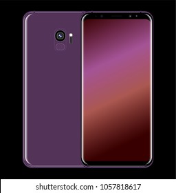 back and front new smartphone realistic, vector phone isolated on black background
