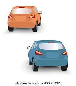 Back of hatchback cars orange and blue in vector on white background