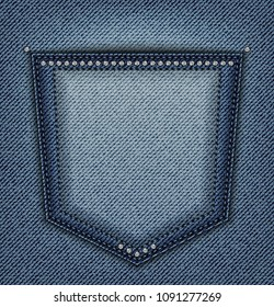 Back pocket with sequins and stitches on blue jeans background.