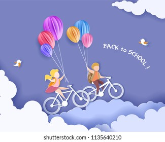 Back to school 1 september card. Children bicycling with air balloons. Paper cut style. Vector illustration