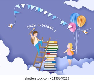 Back to school 1 september card with boy, girl and books on blue sky background. Vector illustration. Paper cut and craft style.