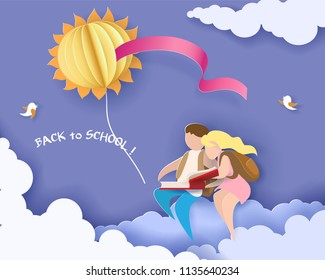 Back to school 1 september card with boy and girl reading book and sitting on cloud. Vector illustration. Paper cut and craft style.