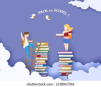 Back to school 1 september card with boy and boy reading book on stack of books. Vector illustration. Paper cut and craft style.