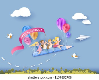 Back to school 1 september card. Children flying on pencil with air balloons. Paper cut style. Vector illustration