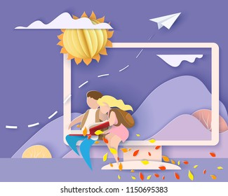 Back to school 1 september card. Monitor screen with mountains, boy and girl reading book. Paper cut style. Vector illustration