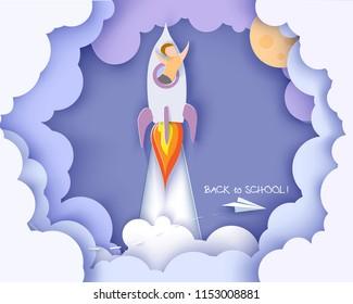 Back to school 1 september card. Children flying on rocket. Paper cut style. Vector illustration