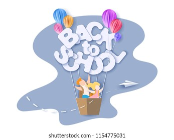 Back to school 1 september card with kids, leaves and letters shaped air balloon on blue sky background. Vector illustration. Paper cut and craft style.