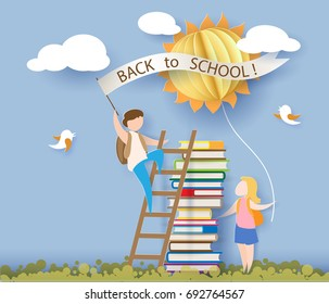 Back to school 1 september card with kids, books and sun on blue sky background. Vector illustration. Paper cut and craft style.