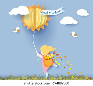 Back to school 1 september card with girl, leaves and sun on blue sky background. Vector illustration. Paper cut and craft style.