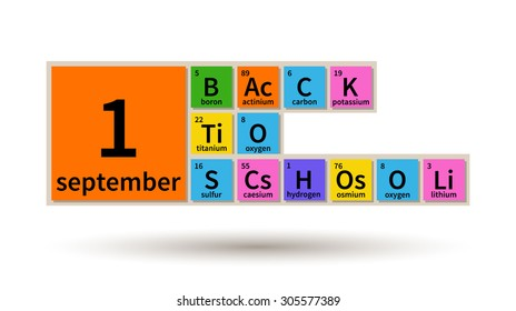 Back to School 1 september with periodic table elements, chemistry theme