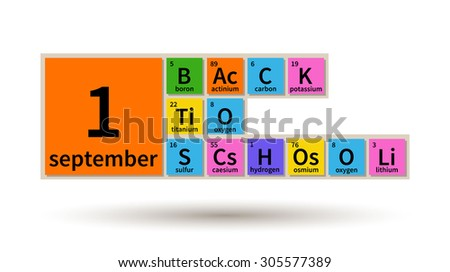 Back School 1 September Periodic Table Stock Vector Royalty Free