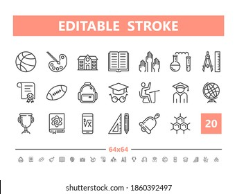 Back to School 20 line icons. Vector illustration in line style. Editable Stroke, 64x64, 256x256, Pixel Perfect.
