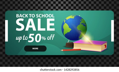 Back to school, up to 50% off, discount web banner for your website with globe and school textbooks