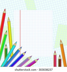 Back to school abstract vector background. Paper, colorful pencils. Backgrounds & textures shop.