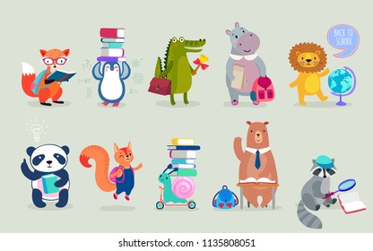 Back to school Animals hand drawn style, education theme. Cute characters. Bear, penguin, hippo, panda, fox and others. Vector illustration.
