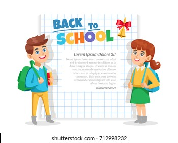 Back to school announcement lettering frame with schoolgirl schoolboy notebook squared paper page background poster vector illustration