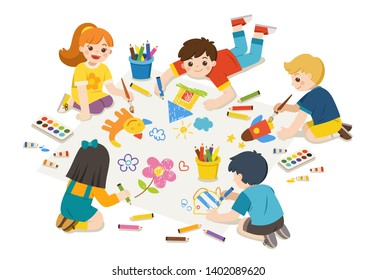 Back to School. Art kids. Happy Children draw pictures pencils and paints on floor. Group of Art kids. Isolated vector.