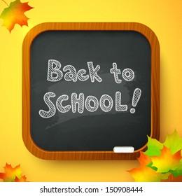 Back to school autumn chalkboard vector card