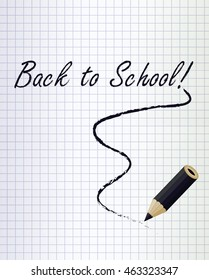 Back to school background with a black pencil, vector illustration
