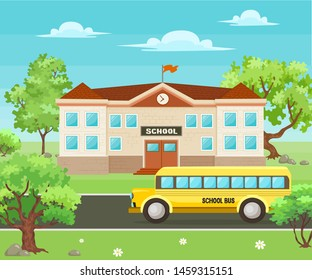 Back to school background. School building surrounded by trees, yellow bus and front yard view. Typical schoolbus on the street scene. Flat style vector illustration.