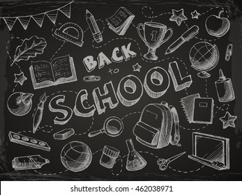 Back to school background in doodle sketch style. Vector education objects and text illustration. Bag, winner cup, chalk board, stationery, book, notebook, paint, ball, globe, paint, flag.