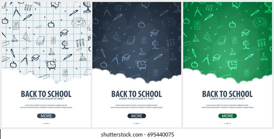 Back School Background Education Banner Vector Stock Vector Royalty Free 695440075