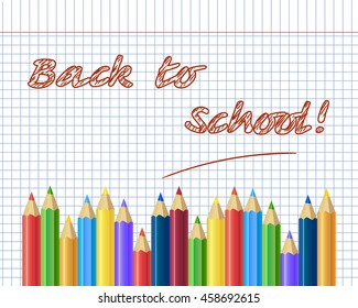 back to school background, with hand drawn doodle elements and realistic pencils. Vector illustration.